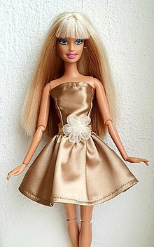 Hračky - Zlaté minišaty pre Barbie - 12970217_