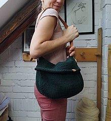 Veľké tašky - Taška pletená, tmavozelená - 12966303_