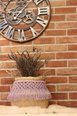 Dekorácie - Levanduľový košík z morskej trávy LAVANDER - 12965978_