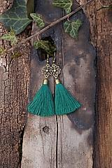 Náušnice - Náušnice strapcové smaragdové - 12968871_