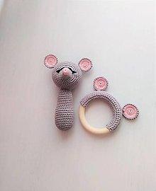 Hračky - Myška: hrkálka a hryzátko - 12968630_