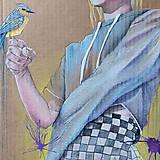 Grafika - Girl with a bird grafika - 12968340_