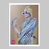 Grafika - Girl with a bird grafika - 12968342_
