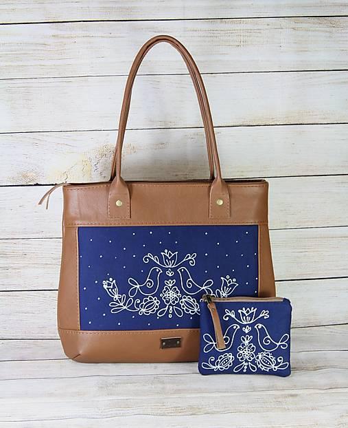 Modrotlačová kožená kabelka Malvína AM