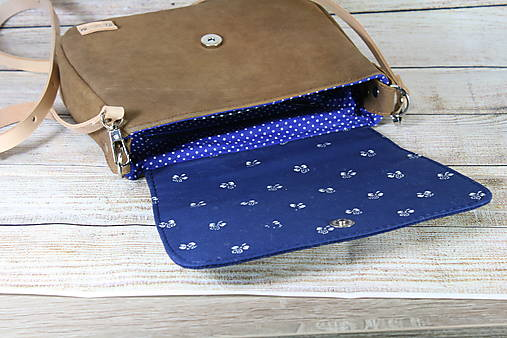 Modrotlačová kožená kabelka Eliška AM 2