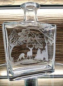 Nádoby - Gravírovaná fľaša jeleň 2 - 12970978_