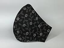 Rúška - Rúško ,biele kvietky na čiernej - 12973614_