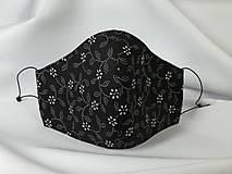 Rúška - Rúško ,biele kvietky na čiernej - 12973623_