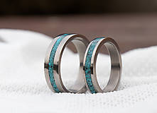 Prstene - Titanové obrúčky s tyrkysom - 12973669_