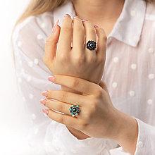 Prstene - prsteň Zina (Swarovski perla - scarabeus green) - 12973396_