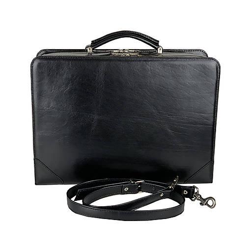Veľké tašky - Pracovný kufor z pravej kože v čiernej farbe - 12972406_