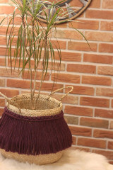 Nádoby - Prírodný kvetináč z morskej trávy bordový YETTY - 12971392_