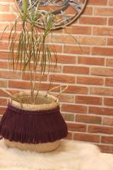 Nádoby - Prírodný kvetináč z morskej trávy bordový YETTY - 12971394_