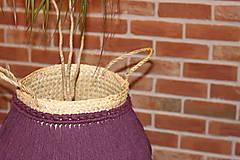 Nádoby - Prírodný kvetináč z morskej trávy bordový YETTY - 12971399_