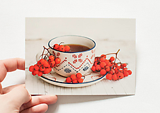 """Papiernictvo - Pohľadnica """"Autumn tea"""" - 12975202_"""