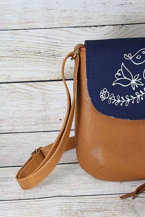 Modrotlačová kožená kabelka Ria AM 2