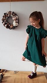 Detské oblečenie - Ľanové šaty s veľkým volánom a mašľou (smaragdová) - 12970864_