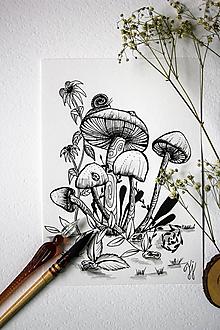 Kresby - Hríbiky - originál N´3 - 12973401_