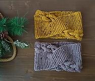 Čiapky - Čelenka Tweed Žltá - 12978571_