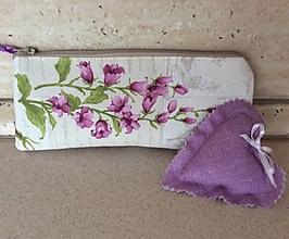 Taštičky - peračník fialové kvety - 12977638_