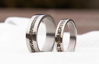 Prstene - Titanové obrúčky s bronzom - 12976377_