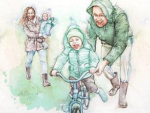 Obrazy - Akvarelový obraz na objednávku - Rodinný portrét - 12979103_