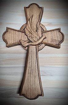 Dekorácie - Drevorezba Kríž Holubica  - 12978034_