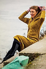 Mikiny - Dlhý mikino-kabát (36 - Žltá) - 12975805_