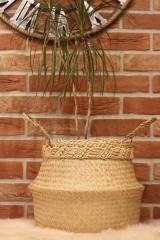 Dekorácie - Košík z morskej trávy s macramé opaskom - 12977724_