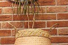 Dekorácie - Košík z morskej trávy s macramé opaskom - 12977725_