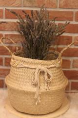 Dekorácie - Košík z morskej trávy s macramé opaskom - 12977729_