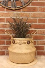Košíky - Kvetináč z morskej trávy plus macramé opasok - 12977878_