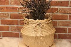 Košíky - Kvetináč z morskej trávy plus macramé opasok - 12977880_
