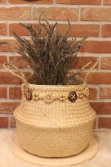 Košíky - Kvetináč z morskej trávy plus macramé opasok - 12977913_