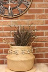 Dekorácie - Mušličkový macramé opasok s košíkom z morskej trávy - 12977956_