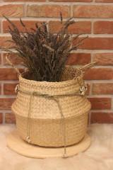 Dekorácie - Mušličkový macramé opasok s košíkom z morskej trávy - 12977959_