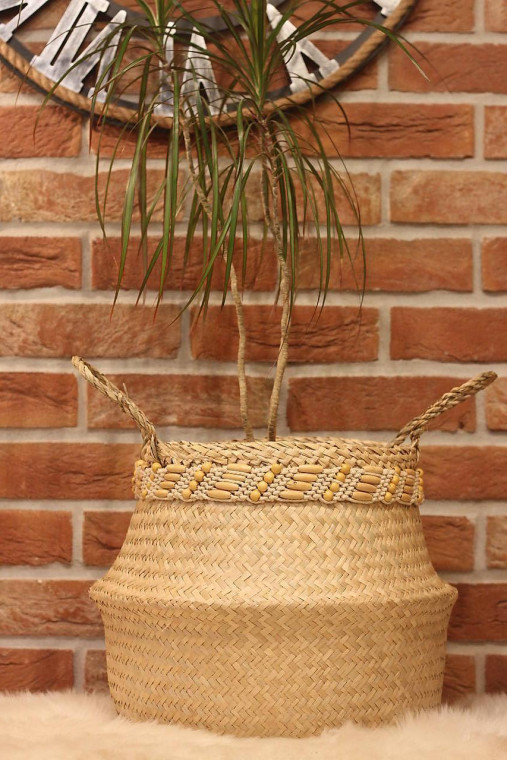 Košík z morskej trávy s macramé opaskom