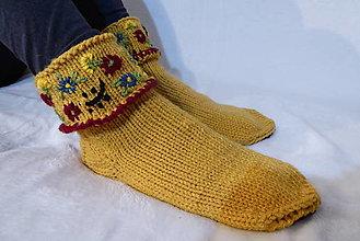 Obuv - Okrové ponožky s filcovou podrážkou č.40-41 - 12978454_