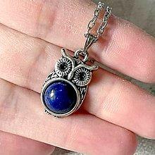Náhrdelníky - Vintage Lapis Lazuli Owl Necklace / Vintage náhrdelník s lazuritom a sovou - 12984058_