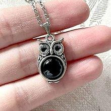 Náhrdelníky - Vintage Black Agate Owl Necklace / Vintage náhrdelník s achátom a sovou - 12984096_