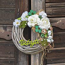 Dekorácie - Venček na dvere s nápisom Vitajte - 12984875_