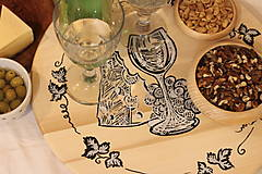 Pomôcky - Servírovací ručne maľovaný otočný podnos pre milovníkov vína. - 12981313_