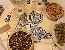 Pomôcky - Servírovací ručne maľovaný otočný podnos pre milovníkov vína. - 12981336_