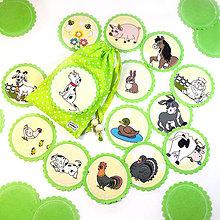 Hračky - LÁTKOVÉ PEXESO - FARMA MAXI (13 párov / 26 kartičiek) zelená) - 12984778_