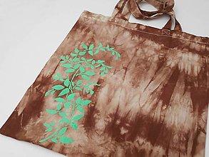 Nákupné tašky - Hnědá batikovaná taška se zelenými listy 12208857 - 12982365_