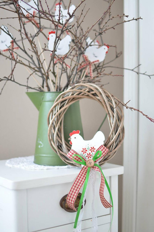 Dekorácie - Veľkonočné venčeky so sliepočkou - 12988000_