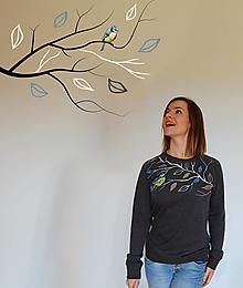 Mikiny - Maľovaná mikina Vtáčik - tmavošedý melír - 12988703_