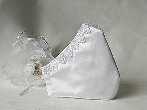 Rúška - Svadobné rúško s čipkou - 12985433_