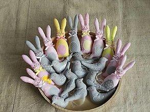 Dekorácie - Veľkonočná sada ,zajačiky,vtáčiky - 12989430_