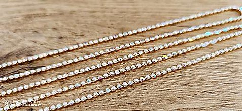 Galantéria - Štrasová borta perličková - Crystal AB - 2 mm - cena za 10 cm - 12987362_